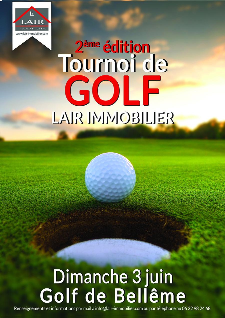 Affiche A3 du Tournoi de Golf Lair Immobilier.